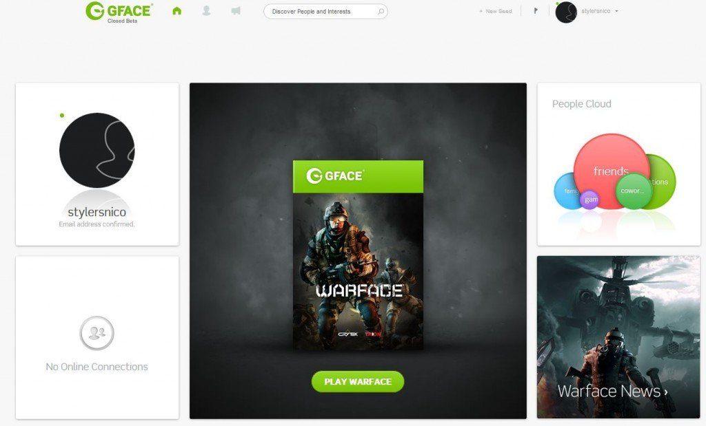 Page d'accueil de Gface ( cliquez pour agrandir )