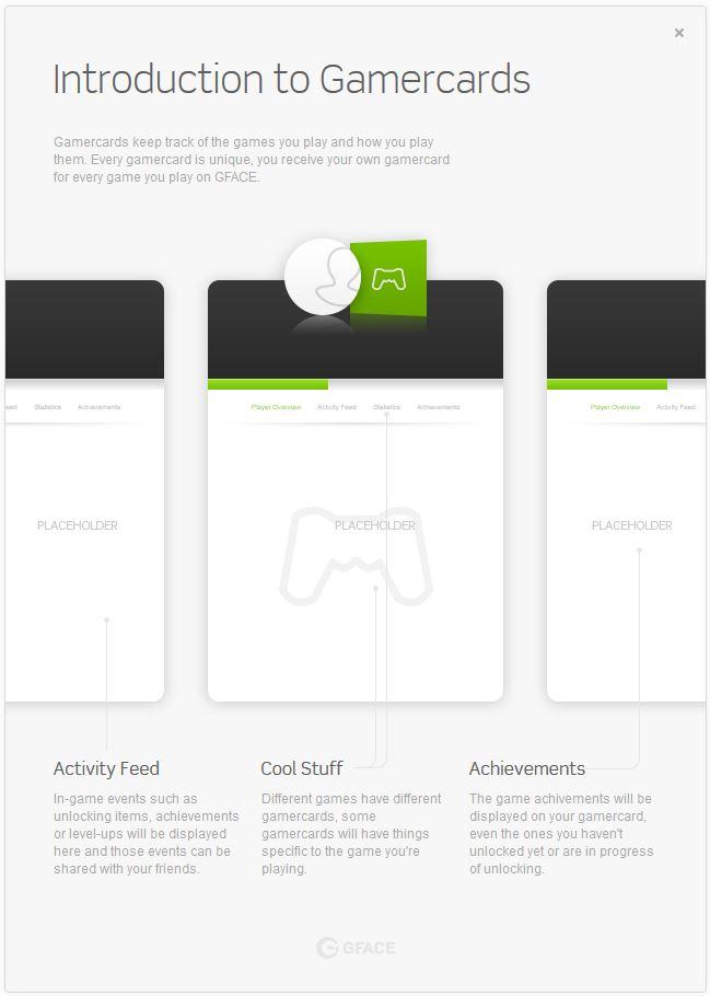 L'introduction aux gamercards. ( profil du joueur pour chaque jeu )