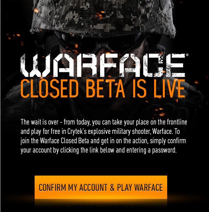 Contenu de l'email d'invitation à la bêta de Warface