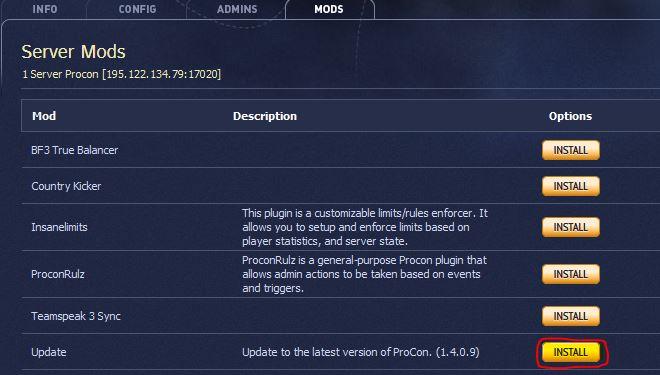Listes des mods avec mise à jour du Procon