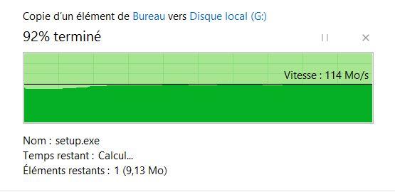 1 fichier de 190mo en USB 3