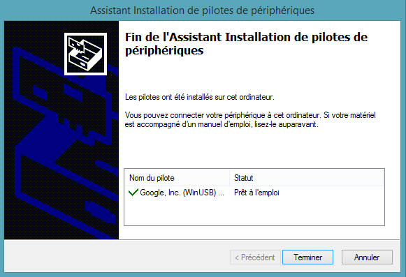 Télécharger pilote android adb pour Windows 8